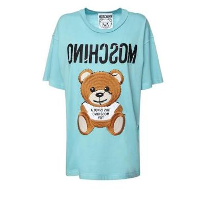 BUG价!【变相3.7折+高返15%】MOSCHINO 泰迪熊 LOGO 棉质平纹针织 女士浅蓝色T恤<br />€160(约1226元)